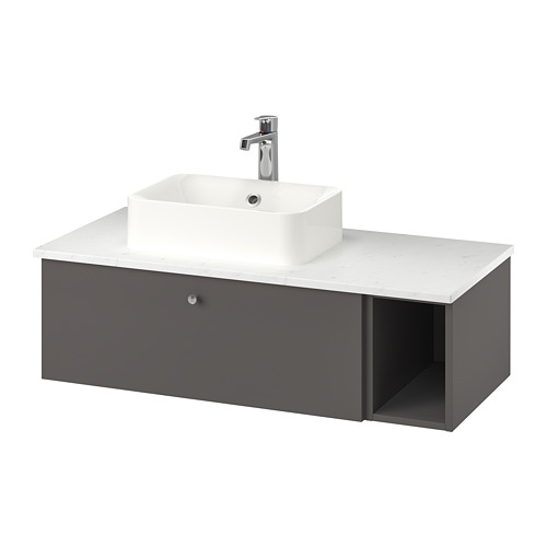 HÖRVIK/GODMORGON/TOLKEN - 洗手盆櫃連櫃台板組合, Gillburen dark grey/marble effect Brogrund tap | IKEA 香港及澳門 - PE777400_S4