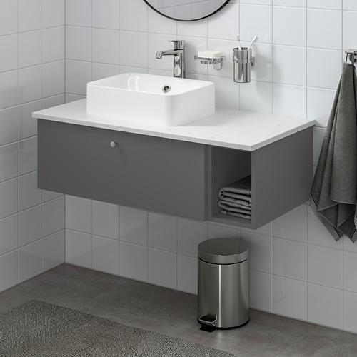 HÖRVIK/GODMORGON/TOLKEN - 洗手盆櫃連櫃台板組合, Gillburen dark grey/marble effect Brogrund tap | IKEA 香港及澳門 - PE777393_S4