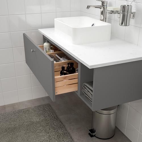HÖRVIK/GODMORGON/TOLKEN - 洗手盆櫃連櫃台板組合, Gillburen dark grey/marble effect Brogrund tap | IKEA 香港及澳門 - PE777397_S4