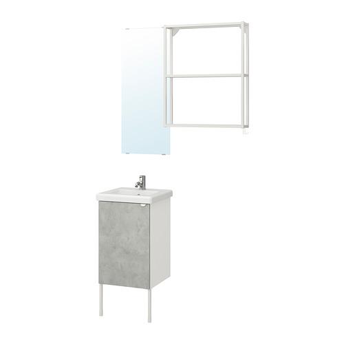 TVÄLLEN/ENHET - bathroom furniture, set of 10, concrete effect/white Pilkån tap | IKEA Hong Kong and Macau - PE777436_S4