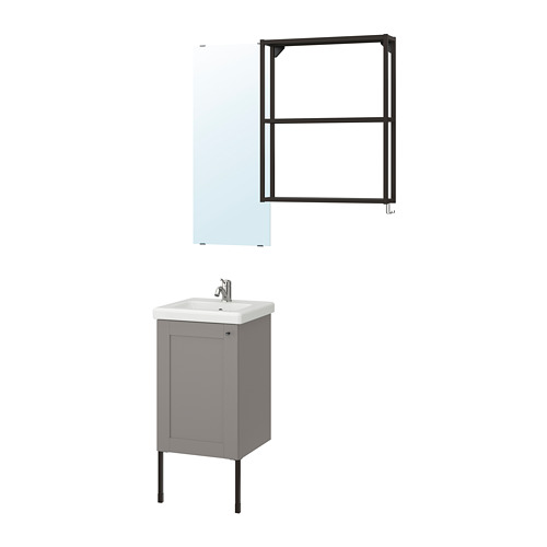 TVÄLLEN/ENHET - 浴室貯物組合 10件裝, grey frame/anthracite Lillsvan tap | IKEA 香港及澳門 - PE777439_S4