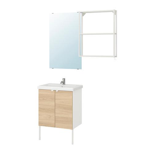 TVÄLLEN/ENHET - bathroom furniture, set of 11, oak effect/white Pilkån tap   IKEA Hong Kong and Macau - PE777445_S4