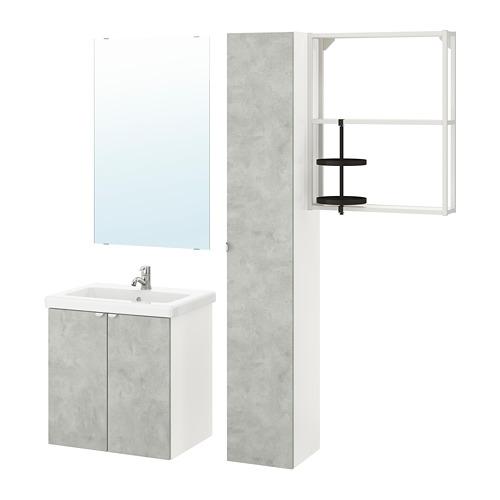 TVÄLLEN/ENHET - 浴室貯物組合 13件裝, 仿混凝土/白色 PILKÅN水龍頭 | IKEA 香港及澳門 - PE777461_S4