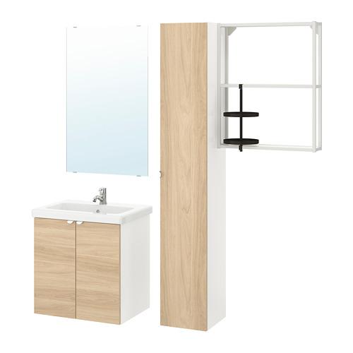 TVÄLLEN/ENHET - 浴室貯物組合 13件裝, 橡木紋/白色 PILKÅN水龍頭 | IKEA 香港及澳門 - PE777462_S4