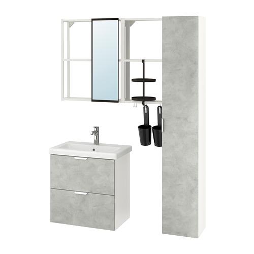 TVÄLLEN/ENHET - 浴室貯物組合 18件裝, concrete effect/white Brogrund tap   IKEA 香港及澳門 - PE777524_S4