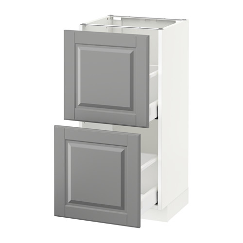 METOD - base cabinet with 2 drawers, white Maximera/Bodbyn grey | IKEA Hong Kong and Macau - PE521410_S4