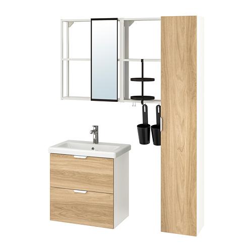 TVÄLLEN/ENHET - bathroom furniture, set of 18, oak effect/white Brogrund tap | IKEA Hong Kong and Macau - PE777478_S4