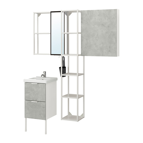 TVÄLLEN/ENHET - 浴室貯物組合 16件裝, 仿混凝土/白色 PILKÅN水龍頭   IKEA 香港及澳門 - PE777504_S4