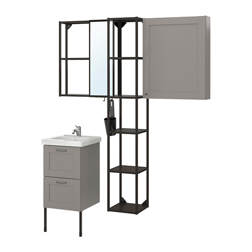 TVÄLLEN/ENHET - 浴室貯物組合 16件裝, grey frame/anthracite Lillsvan tap | IKEA 香港及澳門 - PE777531_S4