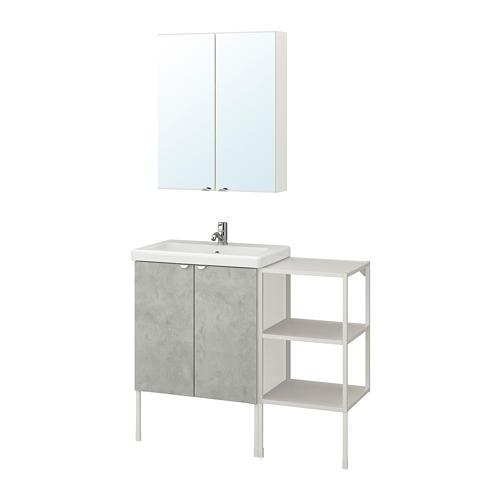 TVÄLLEN/ENHET - 浴室貯物組合 14件裝, 仿混凝土/白色 PILKÅN水龍頭   IKEA 香港及澳門 - PE777464_S4