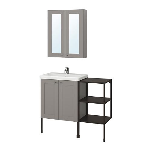 TVÄLLEN/ENHET - 浴室貯物組合 14件裝, 灰色 框架/炭黑色 PILKÅN水龍頭 | IKEA 香港及澳門 - PE777485_S4