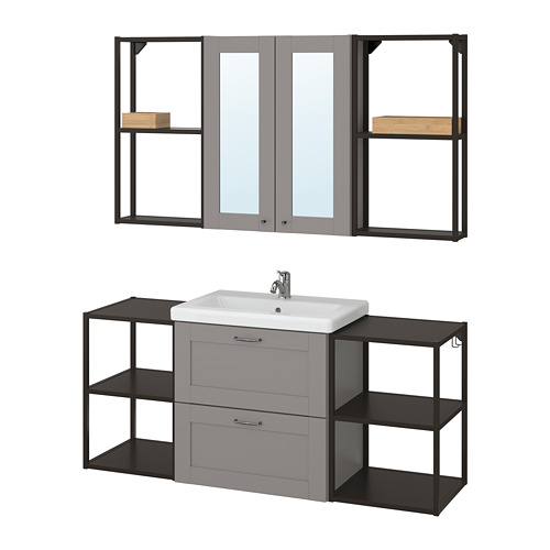 TVÄLLEN/ENHET - bathroom furniture, set of 18, grey frame/anthracite Pilkån tap | IKEA Hong Kong and Macau - PE777534_S4