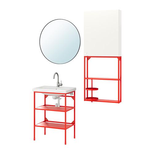 TVÄLLEN/ENHET - 浴室貯物組合 13件裝, red-orange/white Glypen tap   IKEA 香港及澳門 - PE777477_S4