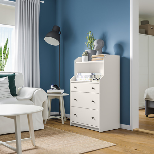 HAUGA - chest of 3 drawers with shelf, white | IKEA Hong Kong and Macau - PE791306_S4