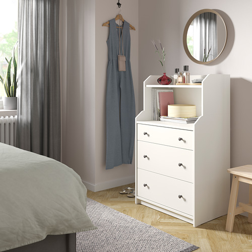 HAUGA - chest of 3 drawers with shelf, white | IKEA Hong Kong and Macau - PE791308_S4