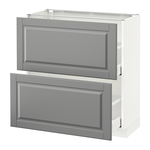 METOD - base cabinet with 2 drawers, white Maximera/Bodbyn grey | IKEA Hong Kong and Macau - PE521567_S4