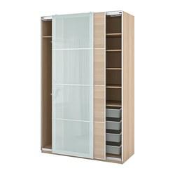 PAX/MEHAMN/SEKKEN - wardrobe combination, white stained oak effect/frosted glass | IKEA Hong Kong and Macau - PE777581_S3