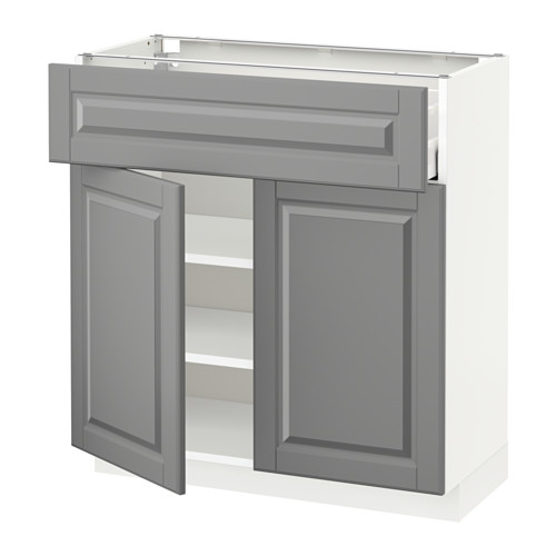 METOD/MAXIMERA - 雙門地櫃連抽屜, white/Bodbyn grey | IKEA 香港及澳門 - PE521632_S4