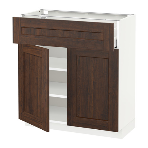 METOD/MAXIMERA - base cabinet with drawer/2 doors, white/Edserum brown | IKEA Hong Kong and Macau - PE521662_S4