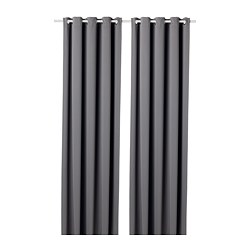 HILLEBORG - block-out curtains, 1 pair, grey | IKEA Hong Kong and Macau - PE695309_S3