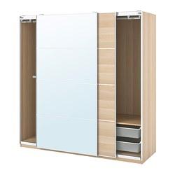 PAX/MEHAMN/AULI - 衣櫃組合, white stained oak effect/mirror glass | IKEA 香港及澳門 - PE777619_S3