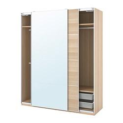 PAX/MEHAMN/AULI - wardrobe combination, white stained oak effect/mirror glass | IKEA Hong Kong and Macau - PE777621_S3