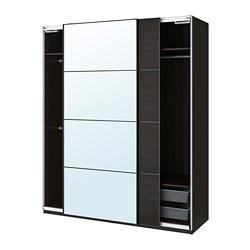 PAX/MEHAMN/AULI - wardrobe combination, black-brown/mirror glass | IKEA Hong Kong and Macau - PE777625_S3