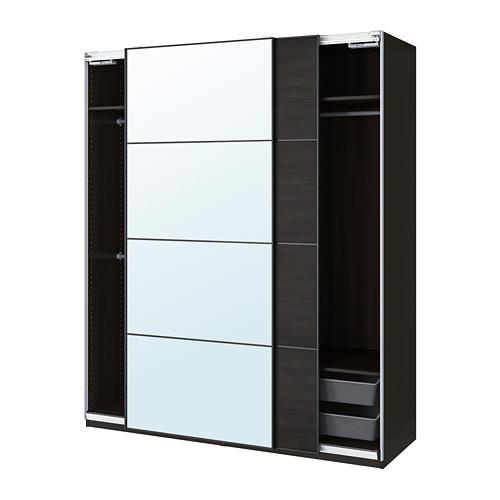 PAX/MEHAMN/AULI - wardrobe combination, black-brown/mirror glass   IKEA Hong Kong and Macau - PE777625_S4