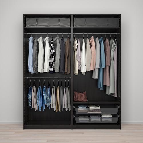 PAX/MEHAMN/AULI - wardrobe combination, black-brown/mirror glass   IKEA Hong Kong and Macau - PE777624_S4