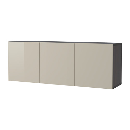 BESTÅ - wall-mounted cabinet combination, black-brown/Selsviken high-gloss/beige | IKEA Hong Kong and Macau - PE647980_S4