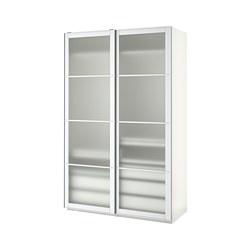 PAX - wardrobe, white/Nykirke frosted glass, check pattern  | IKEA Hong Kong and Macau - PE738610_S3