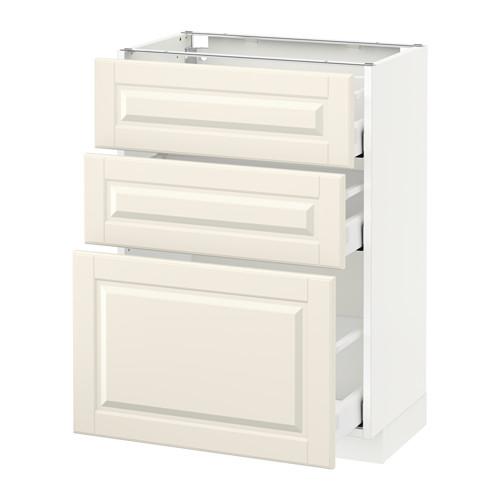 METOD - base cabinet with 3 drawers, white Maximera/Bodbyn off-white | IKEA Hong Kong and Macau - PE521996_S4