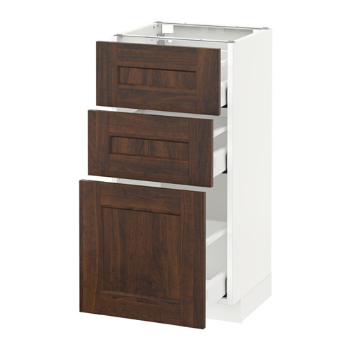 METOD - base cabinet with 3 drawers, white Maximera/Edserum brown | IKEA Hong Kong and Macau - PE522013_S4