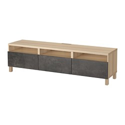 BESTÅ - TV bench with drawers, white stained oak effect Kallviken/Stubbarp/dark grey concrete effect | IKEA Hong Kong and Macau - PE695422_S3
