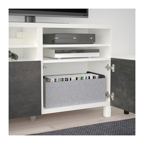 BESTÅ - TV bench with doors, white Kallviken/Stubbarp/dark grey concrete effect   IKEA Hong Kong and Macau - PE695442_S4