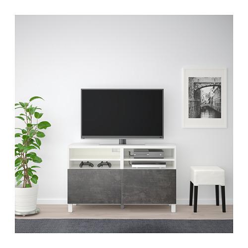 BESTÅ - TV bench with doors, white Kallviken/Stubbarp/dark grey concrete effect   IKEA Hong Kong and Macau - PE695431_S4