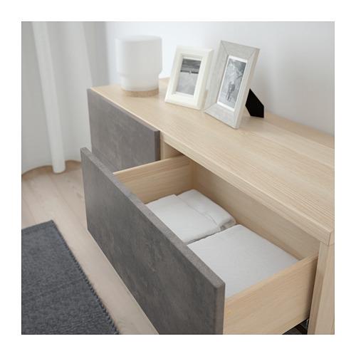 BESTÅ - storage combination w doors/drawers, white stained oak effect Kallviken/Stallarp/dark grey concrete effect | IKEA Hong Kong and Macau - PE695461_S4