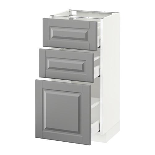 METOD - base cabinet with 3 drawers, white Maximera/Bodbyn grey | IKEA Hong Kong and Macau - PE522055_S4