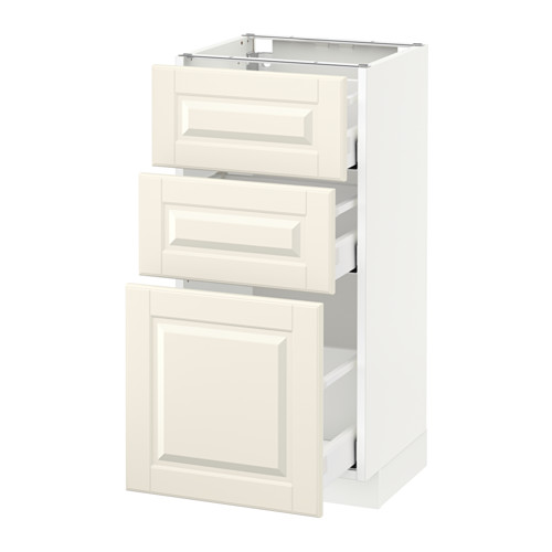 METOD - base cabinet with 3 drawers, white Maximera/Bodbyn off-white | IKEA Hong Kong and Macau - PE522075_S4
