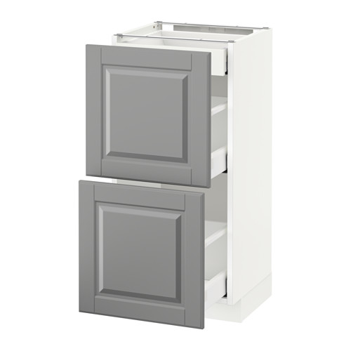 METOD - base cab with 2 fronts/3 drawers, white Maximera/Bodbyn grey | IKEA Hong Kong and Macau - PE522203_S4