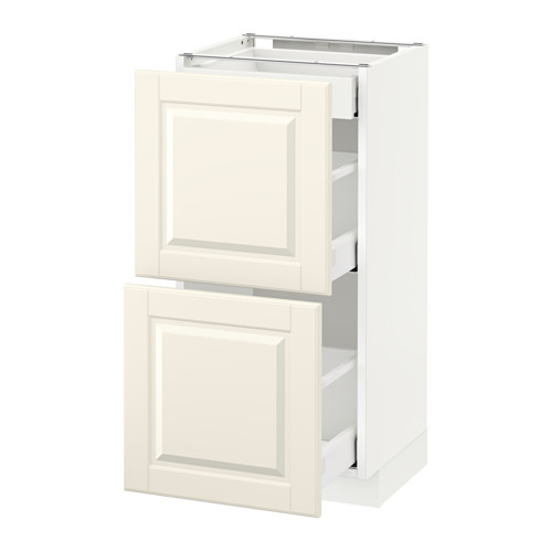 METOD - base cab with 2 fronts/3 drawers, white Maximera/Bodbyn off-white | IKEA Hong Kong and Macau - PE522230_S4