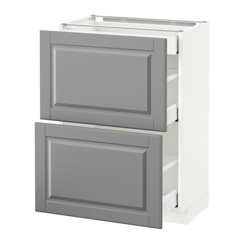 METOD - base cab with 2 fronts/3 drawers, white Maximera/Bodbyn grey | IKEA Hong Kong and Macau - PE522235_S4