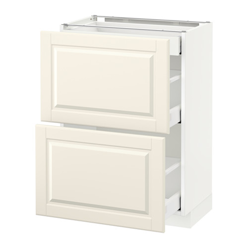 METOD - base cab with 2 fronts/3 drawers, white Maximera/Bodbyn off-white | IKEA Hong Kong and Macau - PE522247_S4