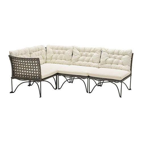 JUTHOLMEN - modular corner sofa 3-seat, outdoor, dark grey/Kuddarna beige | IKEA Hong Kong and Macau - PE791715_S4
