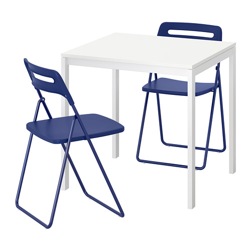 NISSE/MELLTORP - table and 2 folding chairs, white/dark blue-lilac | IKEA Hong Kong and Macau - PE695845_S4
