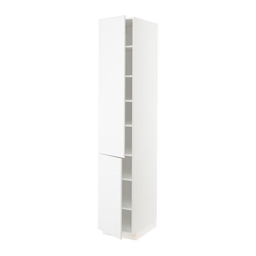 METOD - high cabinet with shelves/2 doors, white/Kungsbacka matt white   IKEA Hong Kong and Macau - PE792122_S4