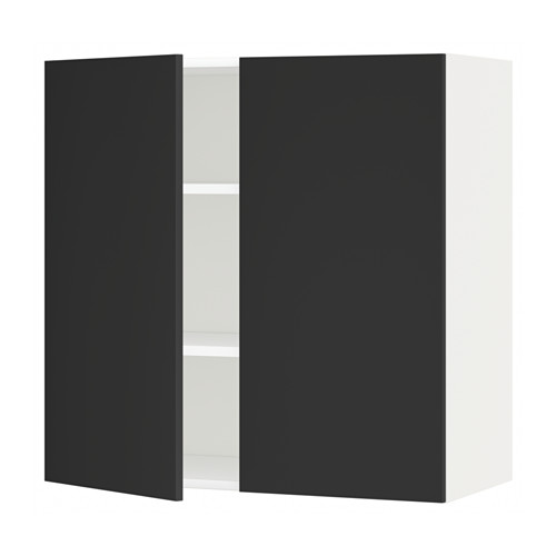 METOD - wall cabinet with shelves/2 doors, white/Uddevalla anthracite   IKEA Hong Kong and Macau - PE648854_S4