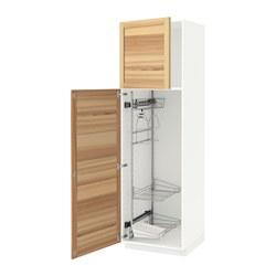 METOD - high cabinet with cleaning interior, white/Torhamn ash | IKEA 香港及澳門 - PE588070_S3
