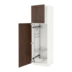 METOD - high cabinet with cleaning interior, white/Edserum brown | IKEA 香港及澳門 - PE588088_S3