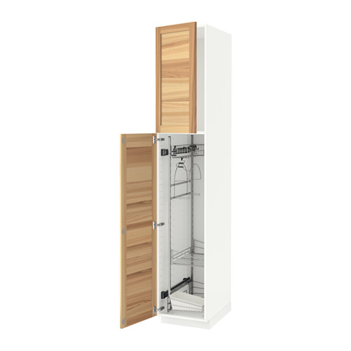 METOD - high cabinet with cleaning interior, white/Torhamn ash | IKEA Hong Kong and Macau - PE588097_S4